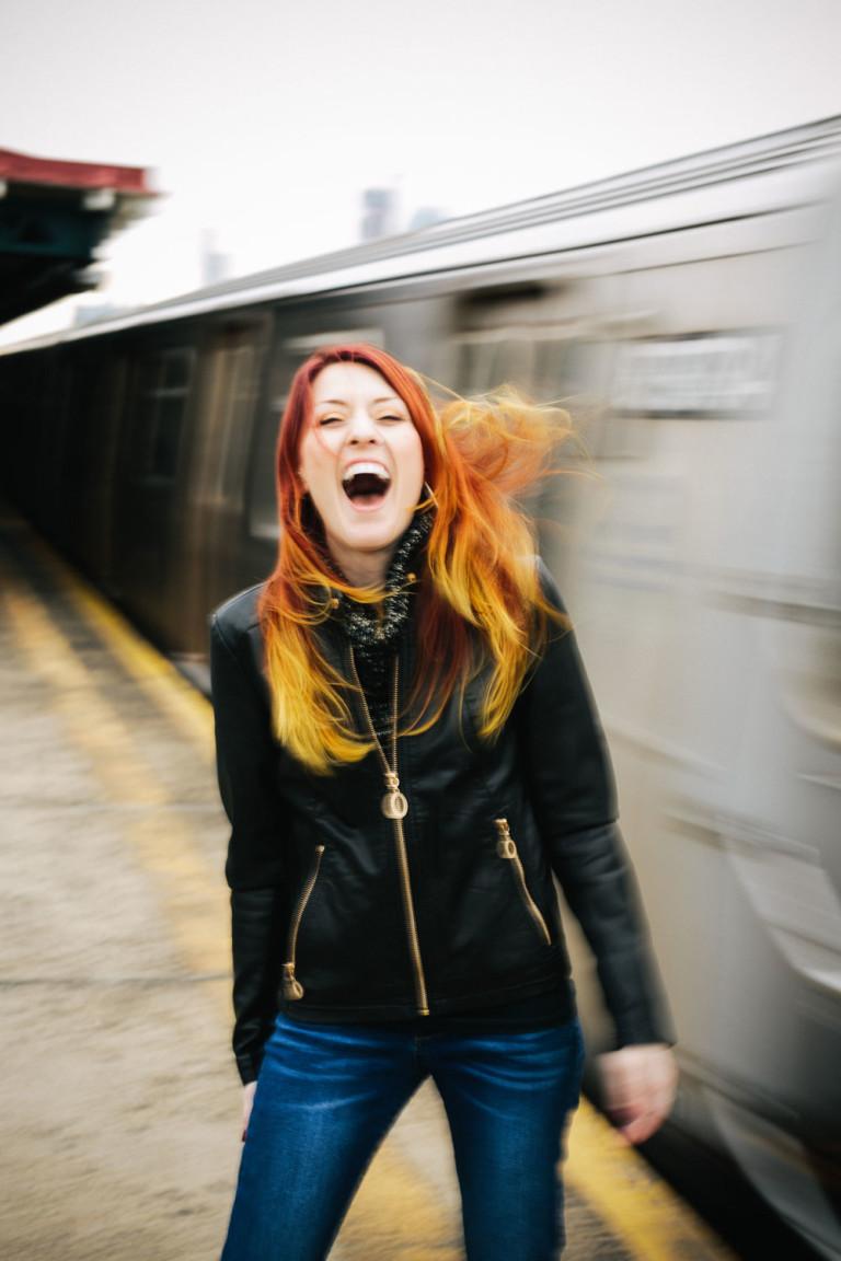 Vanessa Leuck and subway train
